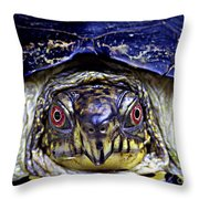 Red Eyed Turtle  Throw Pillow
