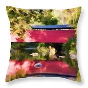 Red Fairhill Covered Bridge Throw Pillow