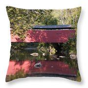 Red Fairhill Covered Bridge Two Throw Pillow