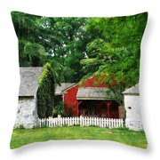 Red Farm Shed Throw Pillow