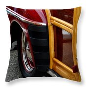 Red Fendered Woodie Throw Pillow