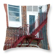 Red Fire Escape Usa II Throw Pillow