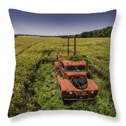 Red Firetruck In The Field Throw Pillow