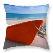 Red Fishing Boat Algarve Portugal Throw Pillow