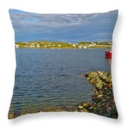 Red Fishing Boat In Twillingate Harbour-nl Throw Pillow