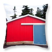Red Fishing Shack Pei Throw Pillow by Edward Fielding