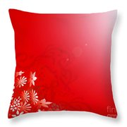 Red Floral Dream Throw Pillow