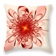 Single Red Flower Throw Pillow