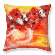 Red Flower Bouquet Throw Pillow