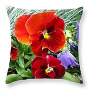 Red Flower In Grass Throw Pillow