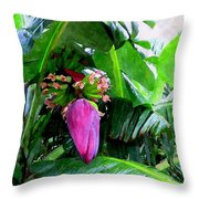 Red Flower Of A Banana Against Green Leaves Throw Pillow