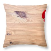 Red Flower On Wood  Throw Pillow