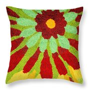 Red Flower Rug Throw Pillow