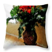 Red Flower Stance Throw Pillow