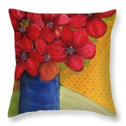 Red Flowers In A Blue Vase Throw Pillow