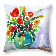 Red Flowers In A Vase Throw Pillow