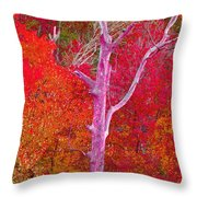 Pink Tree In A  Red Forest Throw Pillow