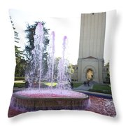 Red Fountain And Hoover Tower Stanford University Throw Pillow