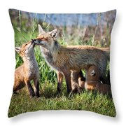Red Fox Family Throw Pillow