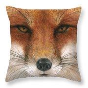 Red Fox Gaze Throw Pillow