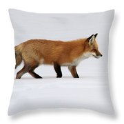 Red Fox In Deep Snow Throw Pillow