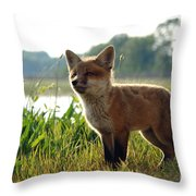 Red Fox Kit Throw Pillow