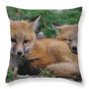 Red Fox Kit Stays Alert Throw Pillow