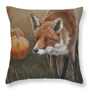 Red Fox With Pumpkins Throw Pillow