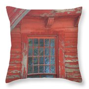 Red Gable Window Throw Pillow