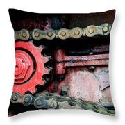 Red Gear Wheel And Chain Of Old Locomotive Throw Pillow by Matthias Hauser