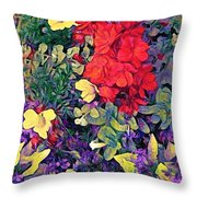 Red Geranium With Yellow And Purple Flowers - Horizontal Throw Pillow