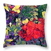 Red Geranium With Yellow And Purple Flowers - Vertical Throw Pillow