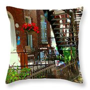 Red Geraniums Verdun Winding Staircases Hanging Flower Basket Montreal Porch Scene Carole Spandau Throw Pillow