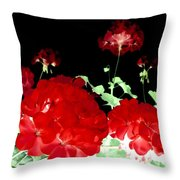 Red Geraniums Throw Pillow by Will Borden