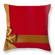 Red Gift Background With Gold Ribbon Throw Pillow
