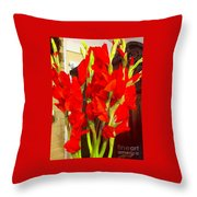 Red Glads Blooming Throw Pillow