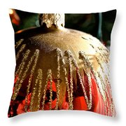Red Gold Glitter Throw Pillow