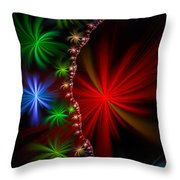 Red Green And Blue Fractal Stars Throw Pillow