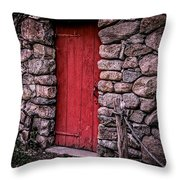 Red Grist Mill Door Throw Pillow
