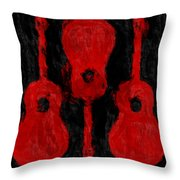 Red Guitars Throw Pillow