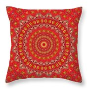 Red Gum Flowers Mandala Throw Pillow