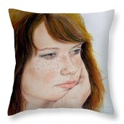Red Hair And Freckled IIi Throw Pillow