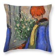 Red-haired Girl On A Sydney Train Throw Pillow