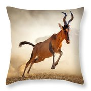 Red Hartebeest Running In Dust Throw Pillow