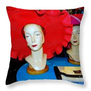 Red Hats Throw Pillow