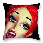 Red Head Around Corner Throw Pillow