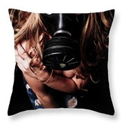 Red Head Gas Mask Throw Pillow