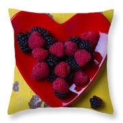 Red Heart Dish And Raspberries Throw Pillow
