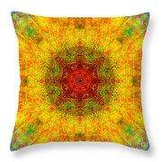 Red Heart Sun Rainbow Mandala Throw Pillow
