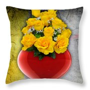 Red Heart Vase With Yellow Roses Throw Pillow